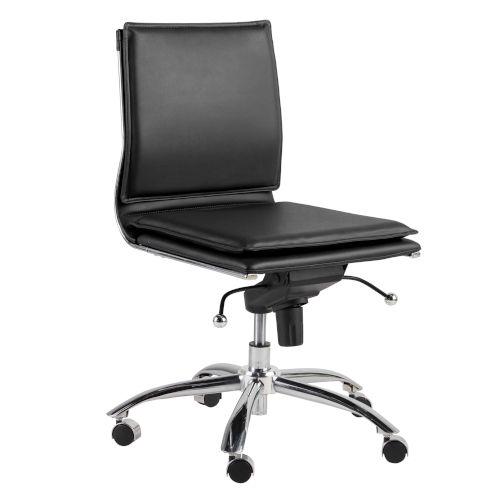 Freya Black Low Back Armless Office Chair
