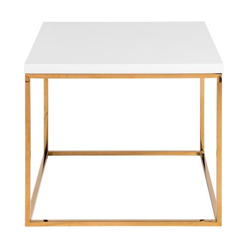 Maeve High Gloss White and Gold Stainless Steel Side Table