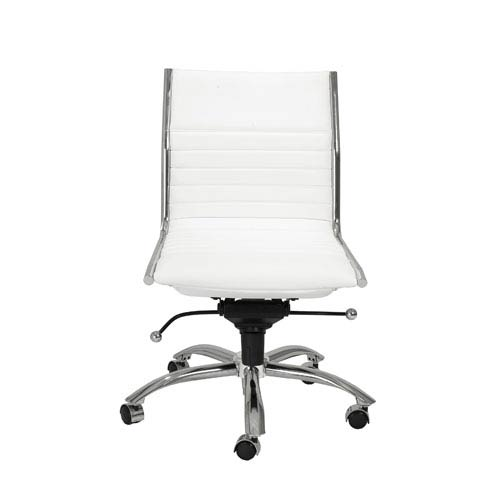 Dirk White Low Back Office Chair without Arms