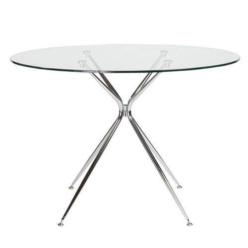 Atos 42-inch Round Dining Table with Clear Tempered Glass Top and Chrome Base