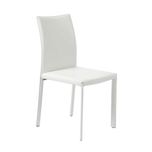 Eurostyle Molly White Leather Side Chair, Set of Four