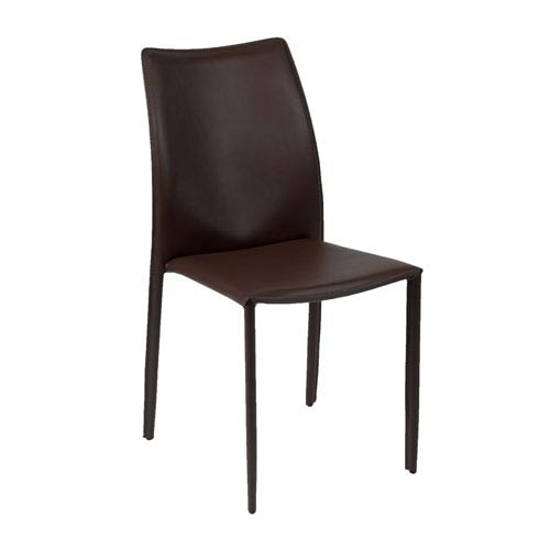 Eurostyle Dalia Dark Brown Leather Side Chair, Set of Four