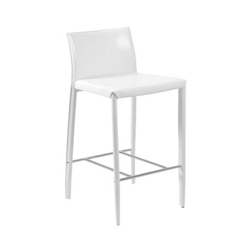 Eurostyle Shen White Leather Counter Chair, Set of Two
