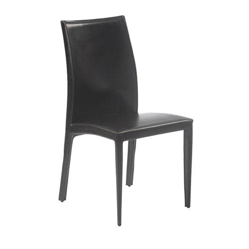 Dafney Black Leather Side Chair, Set of Two