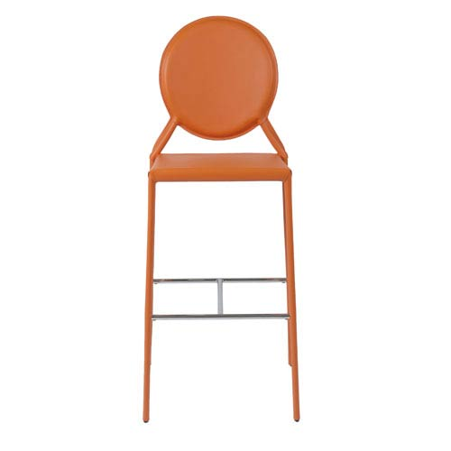 Isabella Orange Leather Bar Chair, Set of Two