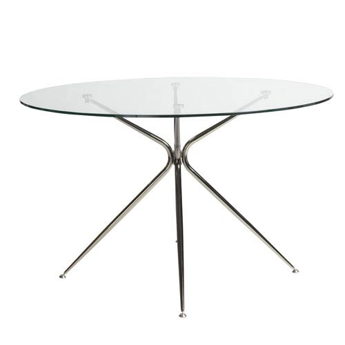 Atos 48-inch Round Dining Table with Clear Tempered Glass Top and Black Nickel Base