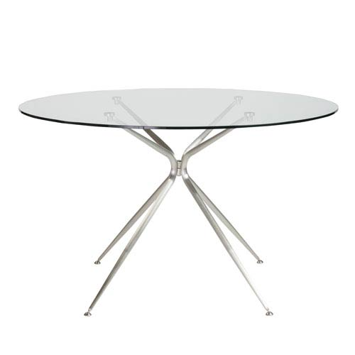 Atos 48-inch Round Dining Table with Clear Tempered Glass Top and Brushed Aluminum Base