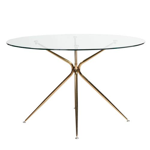 Atos 48-inch Round Dining Table with Clear Tempered Glass Top and Brushed Copper Base