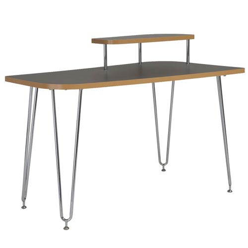 Hanh Desk in Gray with Chrome Legs with Right Shelf
