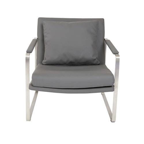 Eurostyle Emmett Lounge Chair in Dark Gray with Brushed Stainless Steel Base
