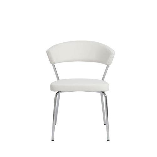 Eurostyle Draco White Side Chair, Set of Four
