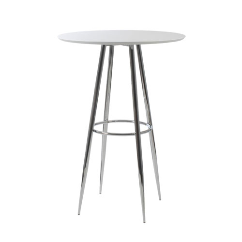 Eurostyle Bravo Bar Table In Matte White Lacquer With Chromed Steel Base