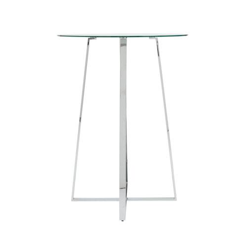 Ursula Bar Table in Clear Tempered Glass with Brushed Aluminum Base