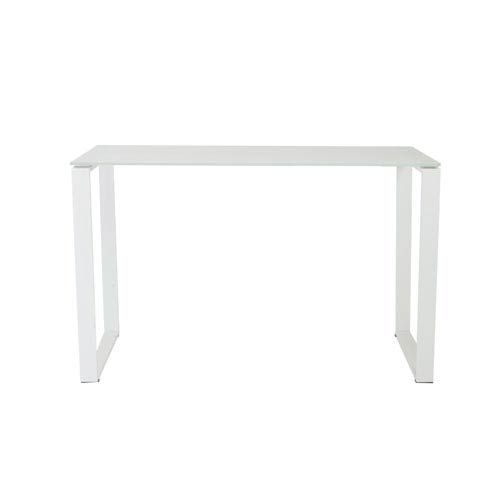 Diego White Desk with Glass Top