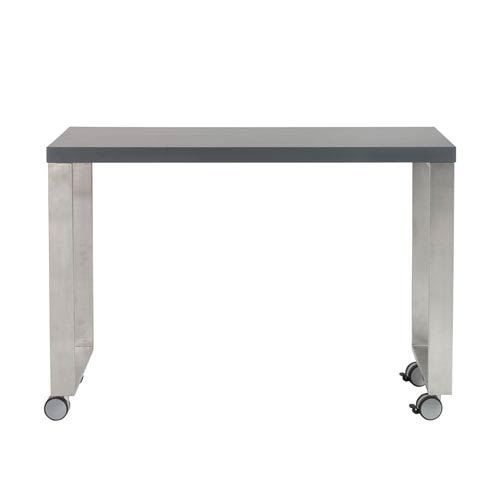 Dillon 40-inch Side Return in Matte Gray and Brushed Stainless Steel