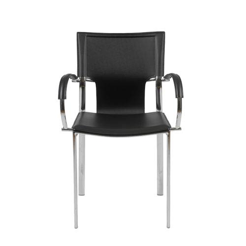 Eurostyle Vinnie Black Leather Arm Chair, Set of Two