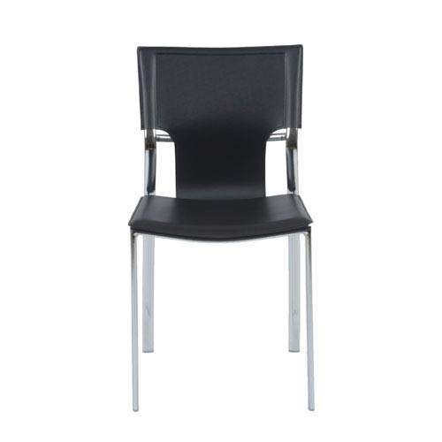 Eurostyle Vinnie Black Leather Side Chair, Set of Four