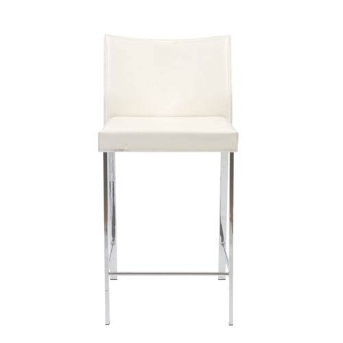 Sensational Riley White Leather Counter Chair Set Of Two Theyellowbook Wood Chair Design Ideas Theyellowbookinfo