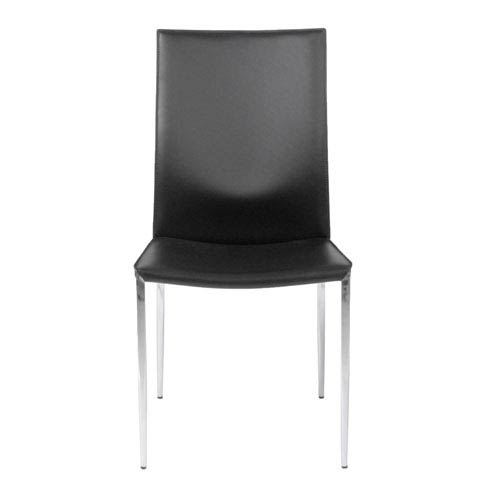 Max Black Leather Side Chair, Set of Two