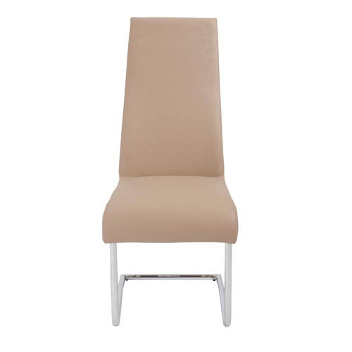 Rooney Dining Chair in Latte with Chrome Legs - Set of 2