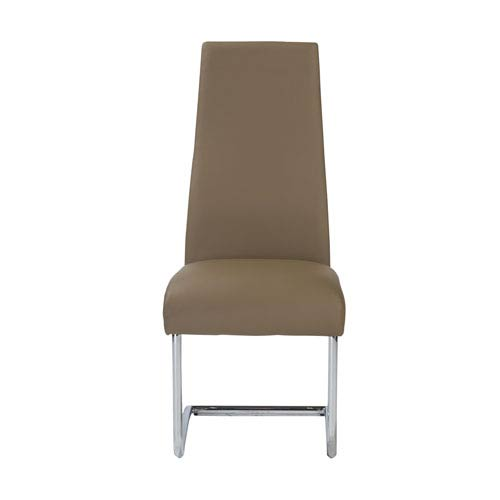 Rooney Dining Chair in Mocha with Chrome Legs - Set of 2