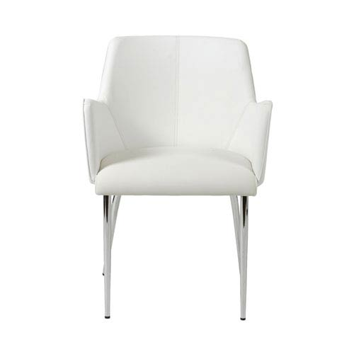 Eurostyle Sunny White Leatherette Arm Chair, Set of Two