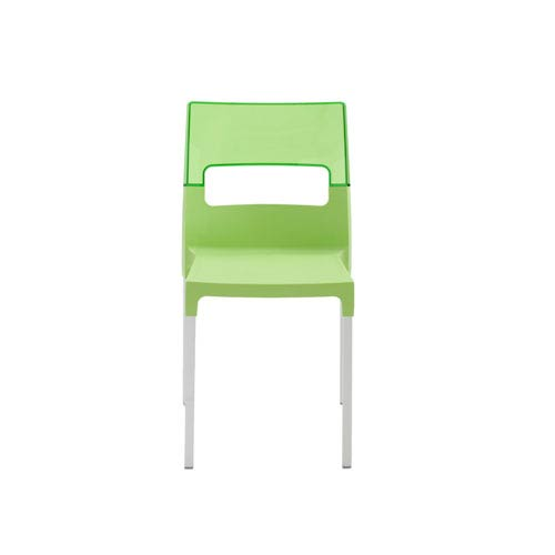 Diva Stacking Side Chair in Green with Aluminum Legs - Set of 4