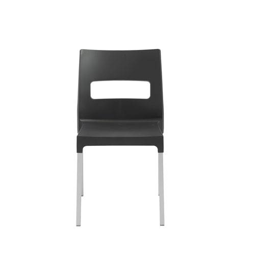 Maxi Stacking Side Chair in Anthracite with Aluminum Legs - Set of 4