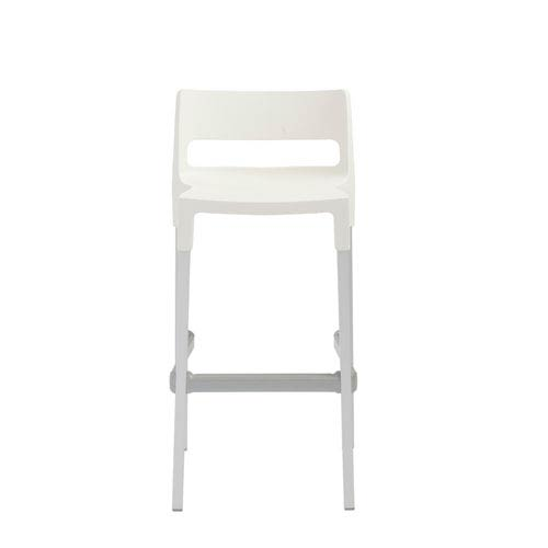 Divo Stackable Bar Stool in Linen with Aluminum Legs  - Set of 4