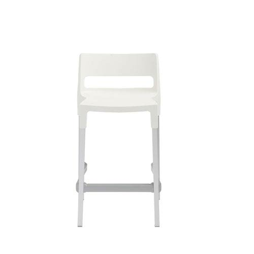 Divo Stackable Counter Stool in Linen with Aluminum Legs - Set of 4