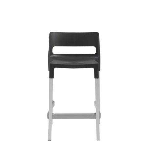 Eurostyle Divo Stackable Counter Stool in Anthracite with Aluminum Legs - Set of 4