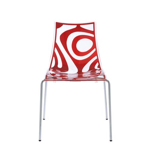 Wave Stacking Side Chair in Clear and Translucent Red with Chrome Legs