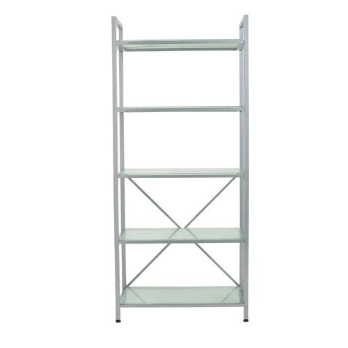 Madrid 5 Shelf Unit in Aluminum with Frosted Glass Shelves