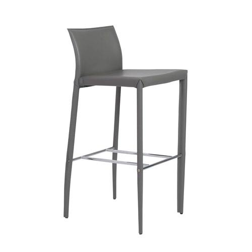 Shen Bar Stool in Gray with Chrome Footrest - Set of 2