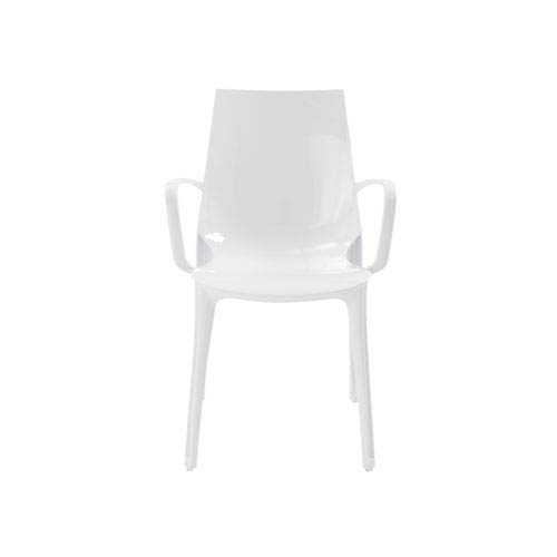 Vanity Stacking Arm Chair in Glossy White - Set of 2