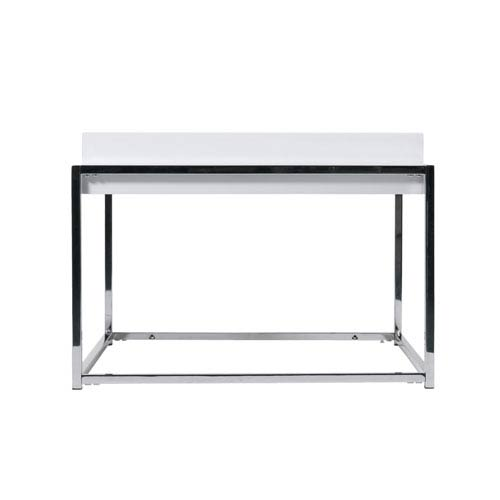 Greta Square Side Table in White with Chrome Base