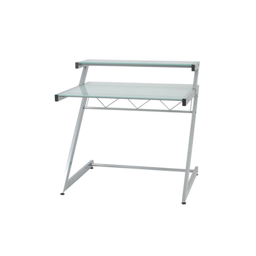 Z Frosted Glass Deluxe Small Desk with Shelf