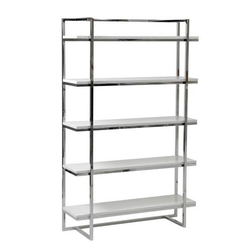 Eurostyle Gilbert White Lacquer Five Shelf Unit