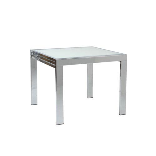 Eurostyle Duo Square Extension Dining Table with Frosted Glass Top and Chrome Base