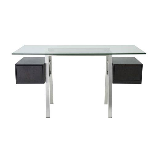 Collette Desk in Wenge with Brushed Stainless Steel Base - Two Drawers