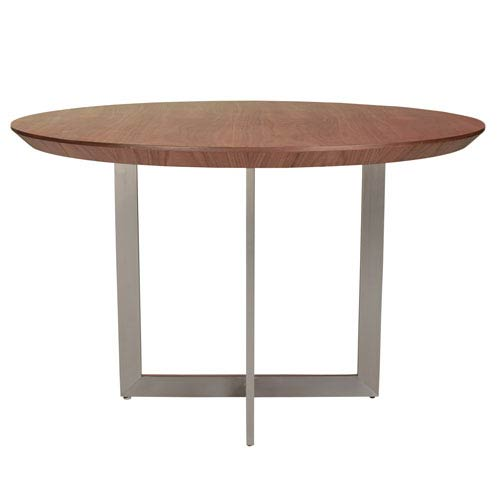 Tosca 54-inch Round Dining Table in American Walnut with Brushed Stainless Steel Base