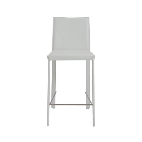 White Leather Counter Stool Bellacor