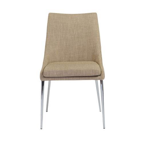 Tarnana Dining Chair in Tan with Chrome Legs - Set of 2