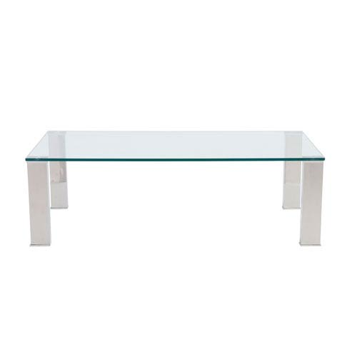 Beth Rectangle Coffee Table with Clear Tempered Glass Top and Polished Stainless Steel Legs