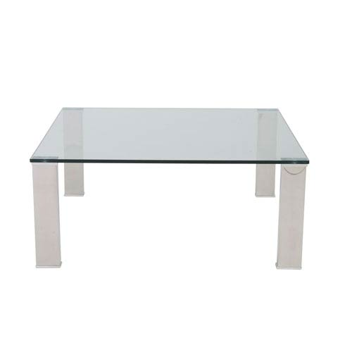 Beth Square Coffee Table with Clear Tempered Glass Top and Polished Stainless Steel Legs