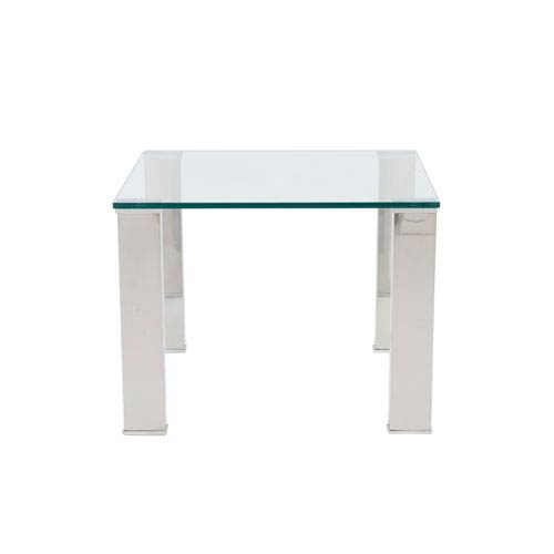 Beth Square Side Table with Clear Tempered Glass Top and Polished Stainless Steel Legs