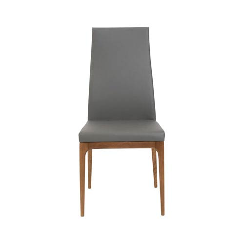 Eurostyle Sully Dining Chair in Gray Leatherette with Walnut Legs - Set of 2