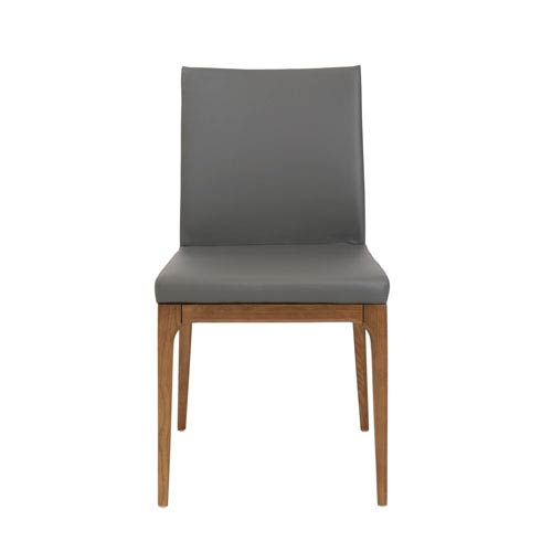 Sully Dining Chair in Gray Leatherette with Walnut Legs - Set of 2
