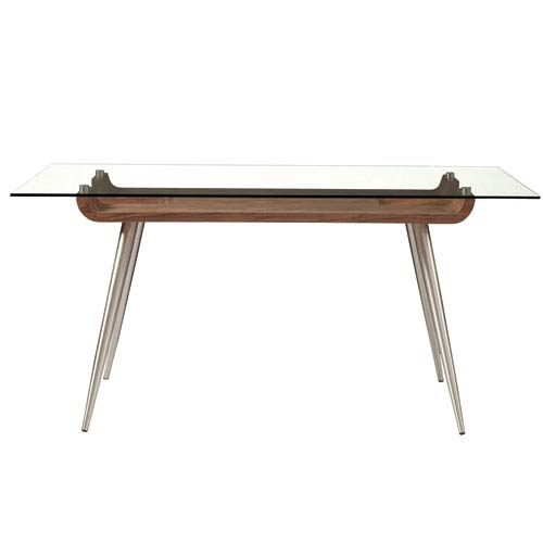 Esmoriz 63-inch Dining Table in American Walnut with Clear Tempered Glass Top and Brushed Stainless Steel Legs