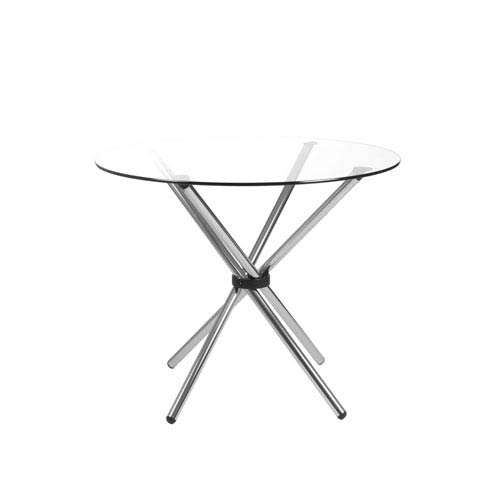 Hydra 36-inch Round Dining Table with Clear Tempered Glass Top and Chrome Base